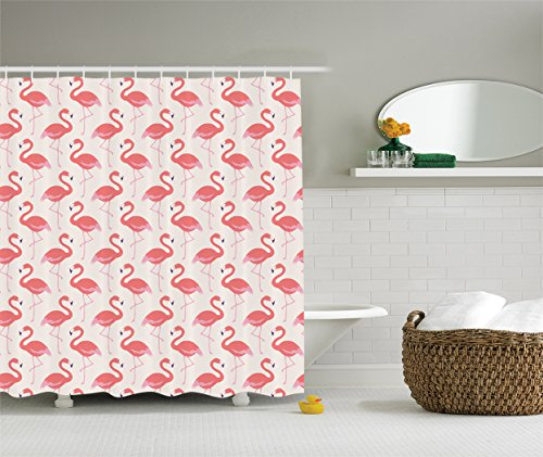 Ambesonne Flamingo Decor Collection, Ornamental Feminine Bird Design and Seamless Flamingos Image Pattern , Polyester Fabric Bathroom Shower Curtain Set with Hooks, 75 Inches Long, Light Salmon Pink