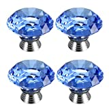 4 Pcs 40mm Crystal Glass Cupboard Wardrobe Cabinet Door Drawer Kitchen Knobs Handle
