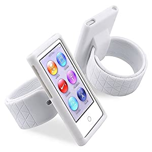 eForCity Silicone Watchband Case Compatible with Apple® iPod nano® 7th Generation, White