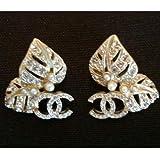 Chanel(シャネル)Gold Plate and Crystal CC Logo Earrings ゴールドプレート&クリスタル CCロゴ イヤリング【並行輸入品】