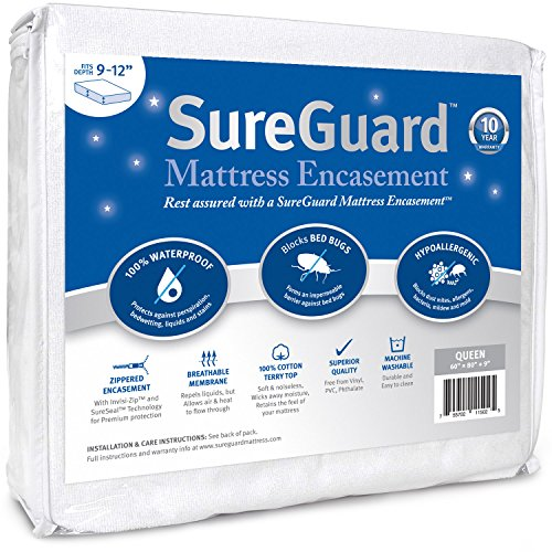 Cheap Queen (9-12 in. Deep) SureGuard Mattress Encasement - 100% Waterproof, Bed Bug Proof, Hypoalle...