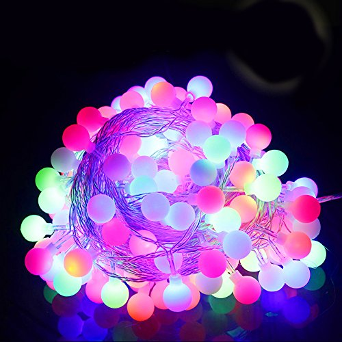 Gorgeouseve Ball Light String Lights Waterproof Outdoor String Lights 10M(33Ft)100 Lamp Xmas Decorations Lights Idea Colorfur Led Holiday Lights With 110V Plug (Multicolor)