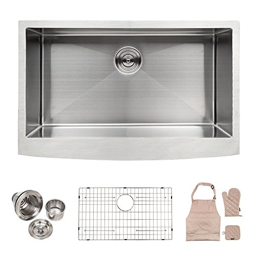LORDEAR Commercial 33 Inch 16 Gauge 10 Inch Deep Drop In Stainless Steel Undermout Single Bowl Farmhouse Apron Front Kitchen Sink, Brushed Nickel Farmhouse Kitchen Sink (Farmhouse Stainless Steel Sink compare prices)