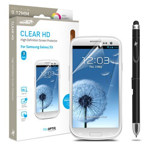 Samsung Galaxy S3 Screen Protector Sentey® Clear Hd High Definition 0.12Mm Ls-14202 (Pack Of 3) 2 In 1Bundle With Free Metal Stylus Touch Screen Pen {Lifetime Warranty}