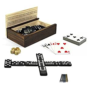 Cribbage, Double 6 Dominoes, Cards, Wooden Dice, 10-in-1 Game Combination Set in a Wooden Box with Sliding Lid