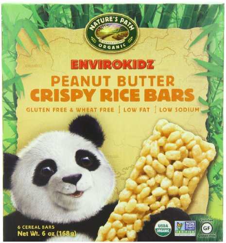EnviroKidz Organic Panda Crispy Rice Bars, Peanut Butter,6 oz- 6-Count Bars (Pack of 6) (Gluten Free Peanut Butter Bars compare prices)