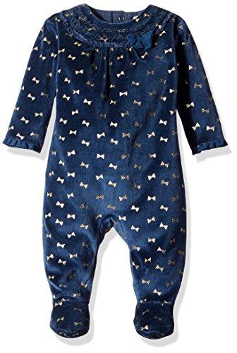 Petit Lem Girls' Baby Glitter Bows Velour Footie Outfit, Poodle, 3 Months