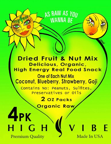 4 Pack Two Ounce Sampler Organic Dry Fruit & Nut Mix By High Vibe, Three Packs Of Blueberry, Coconut & Strawberry Nut Mixes, The Ultimate Healthy & Raw High Energy Good For Your Snack Food, Small Organic Usa Farm Harvest, Organic Cashews, Almonds & Pecans