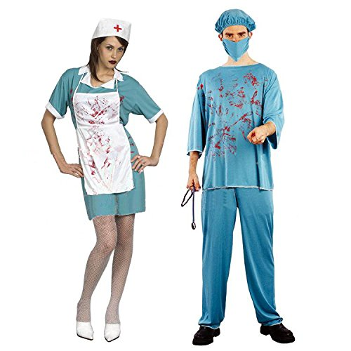 恐怖の外科医 看護師 ハロウィン ホラー コスプレ 衣装 (女性看護師)