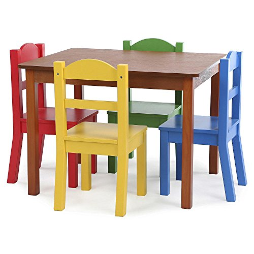 Brand New Focus Wood Table and 4 Primary Colored Chair Set GUARANTEED QUALITY