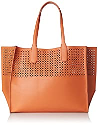 Emilie M. La Mar Perforated Tote, Peach/Melon, One Size
