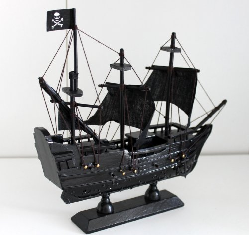 Pirate Ship Wood 23 x 21 cm Black Fabric Sailing Boat Ship Ghost Ship
