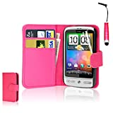 CellDeal Flip Wallet Leather Case Cover For HTC Desire C Free Screen Protector + Pink