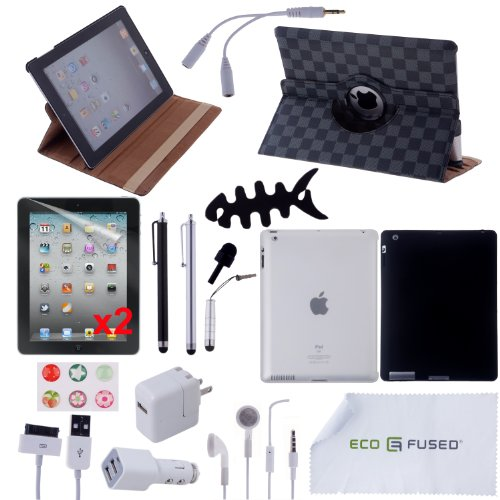 22 pcs iPad 3 Accessory Bundle / 360° Black & Grey Checker Leather Case, Clear TPU Case, Black Silicone Case / Earphones / 4 Black and Silver Stylus Pens! / Chargers for iPad 3 - ECO-FUSED® Microfiber Cleaning Cloth Included - And MORE! Also compatible with iPad 2 (Grey Checkers)
