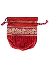 Rajrang Women's Elephant Printed Satin & Art Silk Patch Work Maroon Pouch