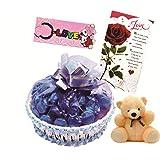 Skylofts Lovely Chocolate Basket With A Cute Teddy, A Love Card & Love Key Ring - B01AEZXLVA