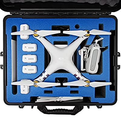 DJI Phantom 3 Carrying Case. Military Spec Waterproof and Airtight Hard Case Fits Quadcopter and GoPro Accessories. (Blue)