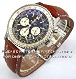 22mm Brown Crocodile Leather Strap for Breitling Deployment Watches 22-20mm