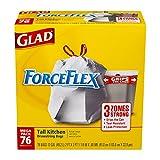 Glad ForceFlex Tall Kitchen Drawstring Trash Bags, 13 Gallon, 76 Count