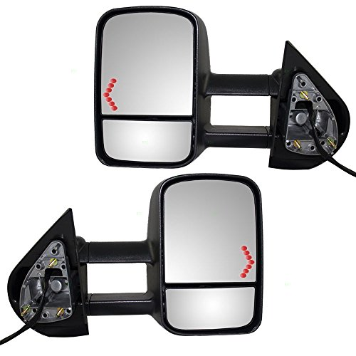 Driver and Passenger Power Tow Side Telescopic Mirrors Heated Signal Replacement for Chevy Cadillac GMC Pickup Truck SUV 20862098 20862099 (08 Silverado 1500 Tow Mirrors compare prices)