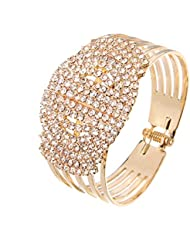 Silver Shoppee Golden Bling Crystal And Cubic Zirconia Studded 18K Yellow Gold Plated Alloy Bracelet