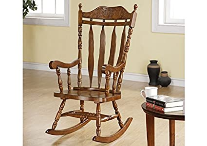 "DARK WALNUT 45""H SOLID WOOD ROCKING CHAIR (SIZE: 27L X 33W X 45H)"
