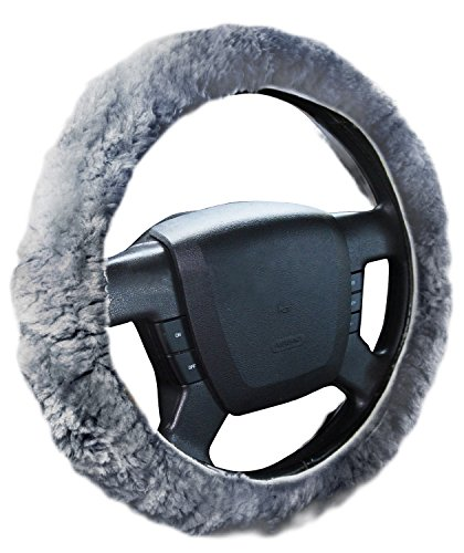 Zone Tech Plush Genuine Sheepskin Stretch- On Vehicle Steering Wheel Cover Gray Car Wheel Protector (Shaggy Purple Car Seat Covers compare prices)