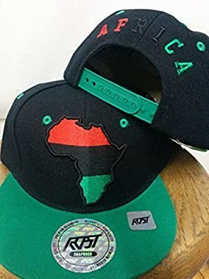 RBG Snapback Africa Hat Red Black Green Embroidered Pan African GRN