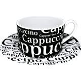 Konitz Cappuccino Writing On Black 7-Ounce Cup and Saucer Black