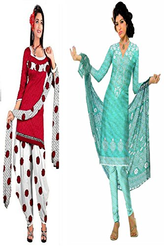 Araham soft crepe / American crepe dress material / unstitched Salwar Suit pack of 2 combo No 529