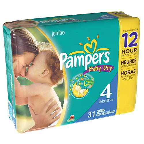 Pampers Baby Dry Diapers Size 4 Jumbo Bag 31 Count (Pack Of 4)