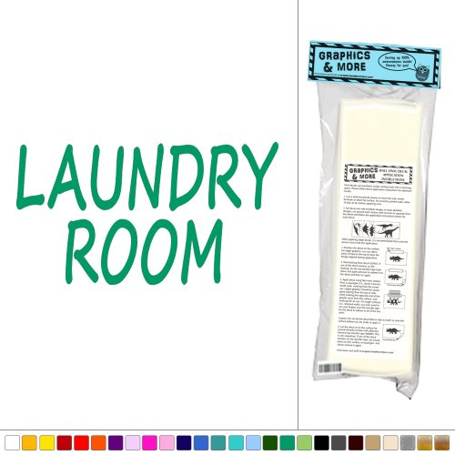 Laundry Room - Washer Dryer - Vinyl Sticker Decal Wall Art Decor - Green front-582487