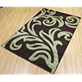 Florence Shaggy Rug Carpet 95 Chocolate & Green 160cm x 230cm (5ft 3