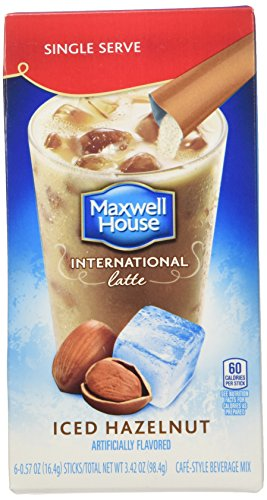 Maxwell House International Cafe Iced Latte Cafe-Style Beverage Mix, Single Serve Packets, Hazelnut, 6 e .57 oz (Beverage Serve compare prices)