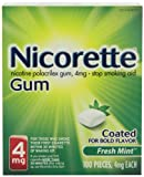 Nicorette Coated Gum, Fresh Mint, 4mg, 100-Count