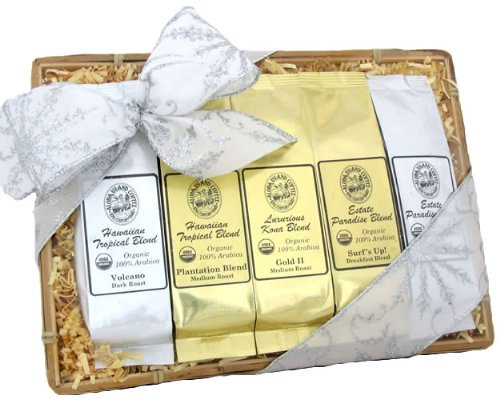 Christmas Snowflake Ribbon, Kona Blend Coffee Sampler Gift Basket, Ground Coffee, Brews 60 Cups