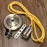 E27/E26 2M Vintage Fabric Cable Pendant Light Filament Lamp Bulb Holder Socket-Golden Yellow