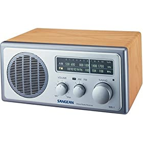 Sangean WR-1 AM/FM Wooden Cabinet Radio, Walnut