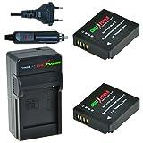 ChiliPower Panasonic DMW-BLH7, DMW-BLH7E, DMW-BLH7PP Kit: 2x Battery (700mAh) + Charger (EU Plug) for Panasonic Lumix DMC-GM1