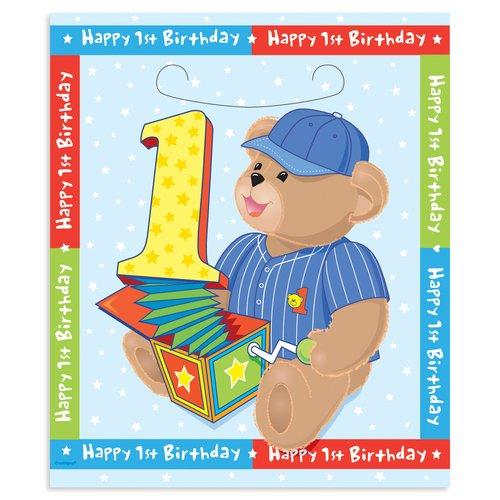 Boy's First Birthday Treat Bags - 8 Count