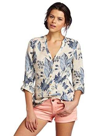 Lucky Brand Women's Morgan Linen Tunic Shirt, Blue Multi, X-Small