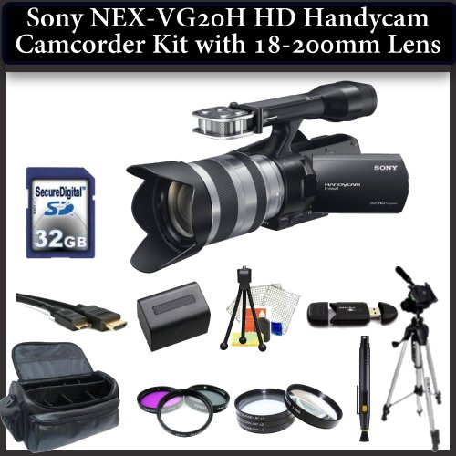 Sony Nex-VG20 HD Camcorder Kit with 18-200mm Lens Includes: 3 Piece Filter Kit(UV-CPL-FLD), 4 Piece Close Up Filter Set(+1,+2,+4,+10), 32GB Memory card, 67
