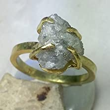 buy Huge Raw Diamond And Yelloe Gold Solitaire Engagement Ring