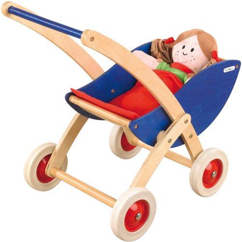 Pinolino Puppenwagen Holz Maria Buche Weis ~ Pinolino 262603 – Puppenwagen Maria, weiß, Buche