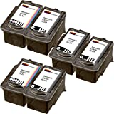 6 Ink Cartridges PG-210, CL-211 (2974B001, 2976B001) Compatible Remanufactured for Canon PG-210 Black, Canon CL-211 Tri-color (2 Set + 2 Black)
