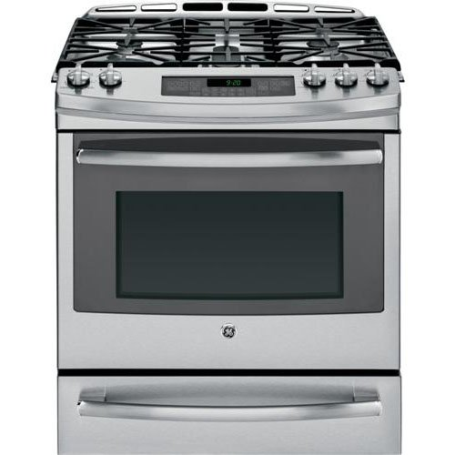 "Ge Pgs920Sefss Profile 30"" Stainless Steel Gas Slide-In Sealed Burner Range - Convection"