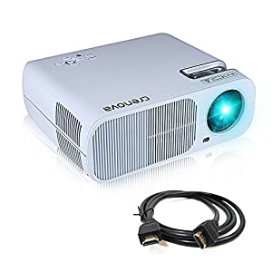 Crenova XPE600 Beamer Tragbarer HD Projektor 2600 Lumen mit 800*480 Auflösung und 2 HDMI 2 USB VGA TV/DTV YPBPR Eingang für Heimkin - Weiß
