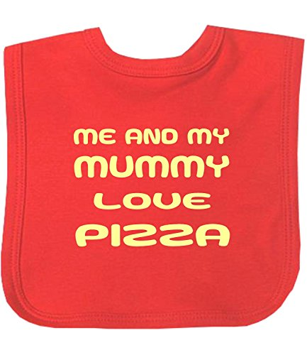 BabyPrem Baby Me and Mummy Love Chocolate Chips Pizza Ice Cream Bib RED PIZZA (Pizza Ice Cream compare prices)
