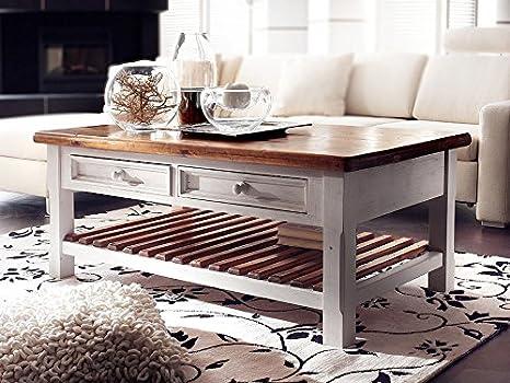 Couchtisch Holz Massiv mit Schublade Bodde alt-weiß Massivholz Shabby Chic Wohnzimmertisch