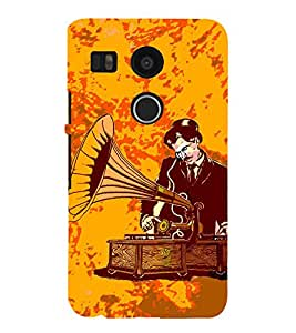 99Sublimation Man and gramophone 3D Hard Polycarbonate Back Case Cover for LG Nexus 5X :: New